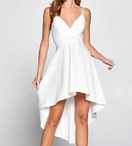 Revamped small white high low dress